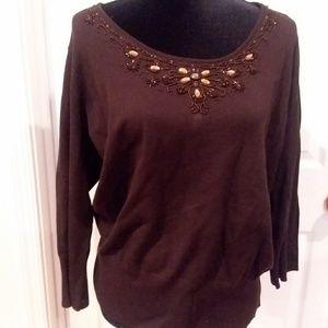 Brown beaded Sweater
